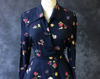 Vintage 1940's 1950's novelty print jacket navy rayon with matador, bull, fans, and roses