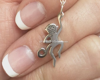 Monkey Necklace - Year of the Monkey Solid 925 Sterling Silver 3D Charm - Free Domestic Shipping