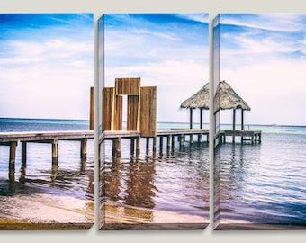 Rustic Beach Pier Boardwalk, Doorway, Tiki Hut, Blue Sky, Tropical Waters, Canvas Art, Roatan Honduras, Beach, Wall Art, Home Decor, Wood