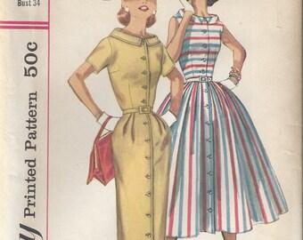 50s Simplicity 2111 Womens Dress Sewing Pattern Size 14 B34