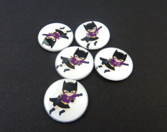 "5 Super Hero Buttons. 3/4"" or 20 mm.  Girl Superhero Buttons for Sewing, knitting or crochet.  3/4"" or 20 mm round. Handmade by Me."