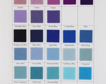 Blue Wool Felt, Purple Felt, CHOOSE SEVEN Sheets, 8 x 12 Inch Sheets, 20 x 30cm,  100% Wool, Wollfilz, Holland Felt