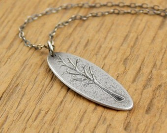 Tree necklace, tiny tree charm necklace, sterling silver engraved tree, 1 inch long small oval.