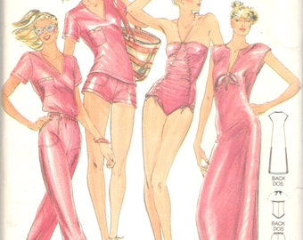 Butterick 3129 1980s John Kloss  Misses Cover Up Shirt Pants Shorts Swimsuit Pattern Womens Vintage Sewing Pattern Size 8 Bust 31 Or 6 UNCUT