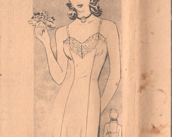 Mail Order 100 1940s Misses Lingerie Sweetheart Neck Slip Pattern Princess Seams Womens Vintage Sewing Pattern Age 20 Bust 38 Hip 41 FF