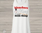 Baseball mom bling sparkly flowy tank top - great gift for birthday or Mother's Day