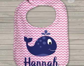 Personalized Bib - whale nautical theme bib with name - great personalized shower gift WCB1