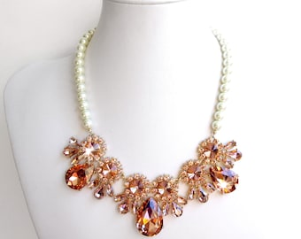 Necklace - Blush & Gold Rhinestone Bib Necklace - Ivory or White Pearl - Peach Pink Gold Statement Bridal Necklace - Blush Pink Crystals