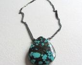 Oxidized Sterling Silver Turquoise and Black Spinel Necklace Handmade in Seattle