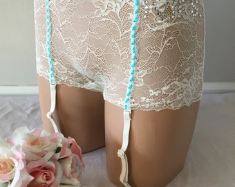 Sale MRS. - Bridal Lingerie with garters Something BLUE - Rhinestones - Size Small