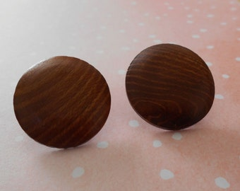 Vintage Wooden Button Post Style Earrings