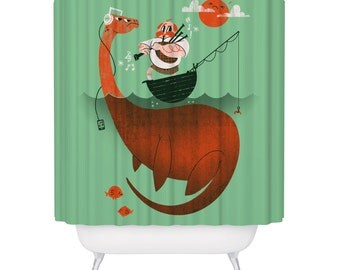 Shower Curtain / Loch Ness Monster / Shower Curtains / Nessie / Scotish / Customer Shower / Bagpipes / Made in USA / Great Bathroom Gift