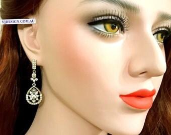 Art Deco Bridal Earrings, Gatsby Wedding Earrings, Teardrop Dangle Earrings, Swarovski Bridal Jewelry, Crystal Wedding Jewelry Gift, DECORA
