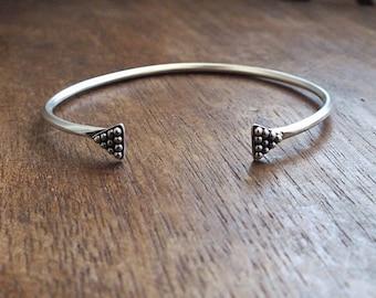 Tiny triangle cuff bracelet - tribal cuff bracelet - geometric bracelet - boho bracelet - triangle bracelet - stacking bracelets