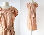Vintage 50s Dress / Peach Pansy / Embroidered Dress / 1950s Floral Dress / L XL