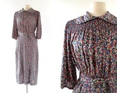 1930s Floral Dress / Vintage 30s Dress / Smocked Dress / Small S