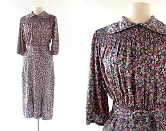 1930s Floral Dress / Vintage 30s Dress / Smocked Dress / Small S