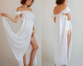 Edwardian Slip Dress Vintage 70s Ivory Crochet JOSEPH MAGNIN Draped Edwardian Revival Empire Lingerie Dress (s)