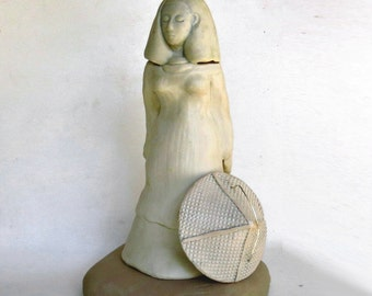 White Lady Statue Ceramic Figurative Modern Art Decor Sculture with Hat