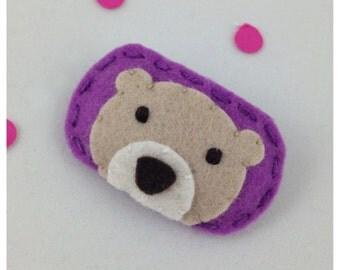 Felt Hair Clip Bear, Peek a Boo, Orchid Hair Clip, Purple Hair Clip, Girls Hair Clips, Baby Hair Clip