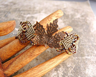 Copper Leaf Micro Macrame Bracelet  - Colorful Copper Leaf - Beaded Macrame Bracelet - Autumn Jewelry