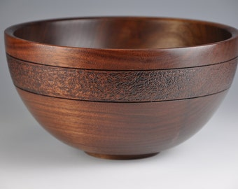 Walnut Bowl with textured rim