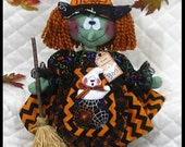 "Primitive Raggedy HALLOWEEN WITCH ""LouBella Boo""~Ghost Pocket/Broom Ornies!"