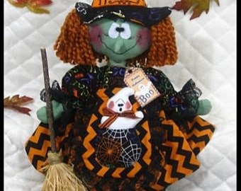 """Primitive Raggedy HALLOWEEN WITCH """"LouBella Boo""""~Ghost Pocket/Broom Ornies!"""