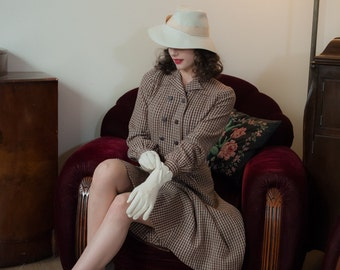 Vintage 1940s Dress - Charming Brown and Tan Check Plaid Cozy Wool 40s Day Dress with Faux Belted Waistline