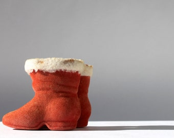 Antique Santa Boots, Vintage Christmas Decor, Vintage Candy Containers