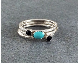 Stacking rings, stacking rings silver, 3 stacking rings turquoise and black onyx , turquoise ring, Black onyx ring, Sterling ring, US size 9