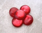 Luminescent Red Buttons, 21mm 3/4 inch - Glossy Rippled Red Vintage Shank Buttons - 5 VTG NOS Deep Red Marbled Lucite Plastic Buttons PL430