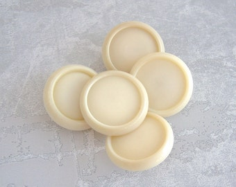 Warm White Buttons, 22mm 7/8 inch - Off-White Vintage Buttons w/ Satin Centers, Glossy Rims - 5 NOS Cream White Plastic Shank Buttons PL546