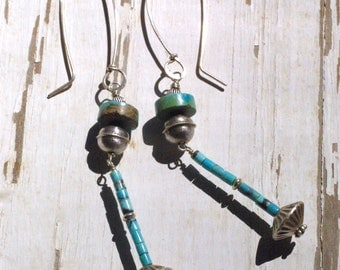 Extra Long Silver Dangle Earrings- Repurposed Vintage Navajo Beads and Turquoise -  Boho Chic - Gypsy Chic - One of a Kind
