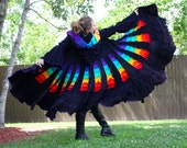 Upcycled Rainbow Sweater Coat with a Medieval Liripipe Hood by SnugglePants- Extra Long- Cascade Waterfall- Ready to Ship