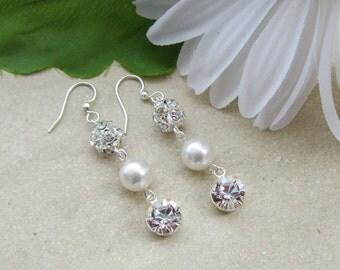 Bridal Earrings, Wedding Jewelry, Bridal Jewelry, Fireball Jewelry, Crystal Drop Earrings, Rhinestone Earrings, Bling Earrings, Sparkler