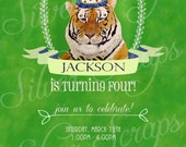 Hand Painted Tiger Custom Birthday Party Invitation, Circus Zoo Carnival Jungle Animal Boy Hat Bowtie Green Blue Yellow, 3 Printable Designs
