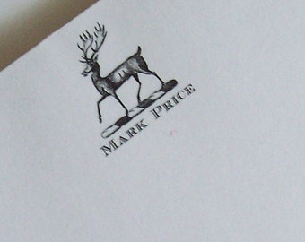 Personalized Stag Deer NotePad Elk Antler Monogram 75 Sheet Note Pad Woodland Forest Cabin Country Lodge Chic Rustic white or Kraft