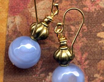 Blue Onyx Earrings, 18 K Gold Filled Ear wire Earrings, Periwinkle Blue Earrings, perfect match for Tibetan Deer Necklace