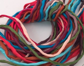 Hand Painted Silk Cord - Hand Dyed Silk - Silk Ribbon - Jewelry Supplies - Wrap Bracelet - Craft Supplies - 2mm Silk Cord Item No.389