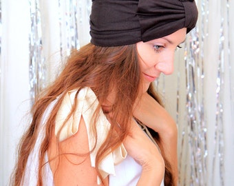 Turban with Bow - Chocolate Brown Hair Wrap in Jersey Knit - Women's Fashion Head Covering - Lots of Colors