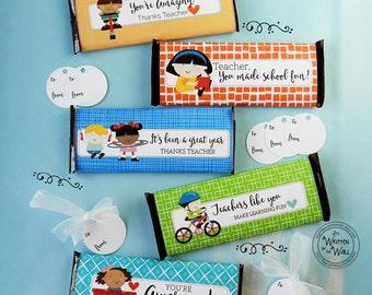 5 Teacher Appreciation Candy Bar Wraps / Thank you gift / Teacher Appreciation Gift Ideas / Hershey Chocolate Bar Wraps / Thanks Teacher