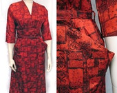 1950s Vintage Red and Black Print Day Dress SZ S -M