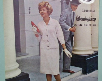 Vintage Knitting Pattern 1960s Women's Suit Skirt and Jacket Cardigan 60s original pattern Wendy No. 249 UK - fitted pencil skirt