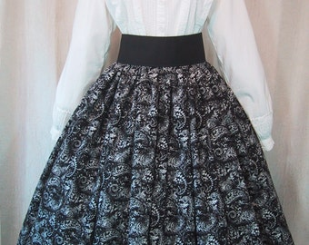 Long Skirt for Costume - Victorian - 19th Century Fashion - Civil War Reenactment - Black & White Paisley Print Cotton Fabric - Handmade