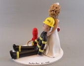 Nurse Dragging Firefighter Personalized Wedding Cake Topper - reserved for amanderson103