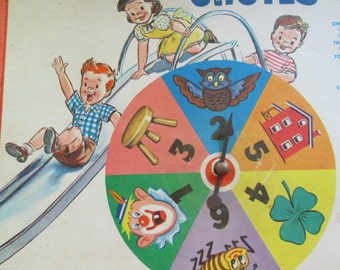 Vintage 1956 Chutes and Ladders Game Board with Spinner