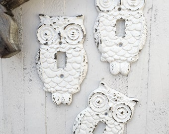 Owl Switch Plate, Cast Iron, Shabby Chic White, Cover Plate, New House, Wedding Gift, Single Light Switch Plate, Style 124