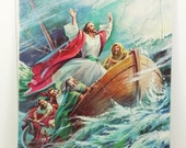 Jesus Stills the Storm Chipboard Tray Puzzle, Jesus Calms the Sea 1960 Warner Press Religious Puzzle