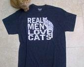 Mens Funny tshirt, Real Men Love Cats, heather 50/50 blend, dad tshirt, cat shirt, boyfriend tshirt, catman, RCTees, under 25, cats